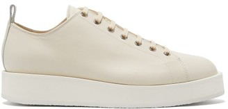 Jil Sander Exaggerated-sole Leather Trainers - Womens - Beige