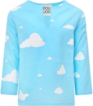 Douuod Light Blue T-shirt With White Clouds