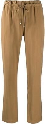 D-Exterior Elasticated Waistband Straight-Leg Trousers