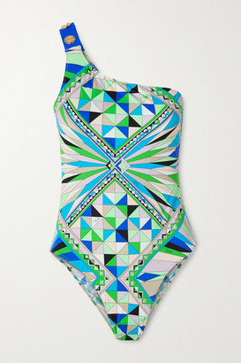 Emilio Pucci One-shoulder Button-embellished Printed Swimsuit - Green