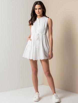 Forever New Alex Petite Textured Smock Dress - Porcelain - 10