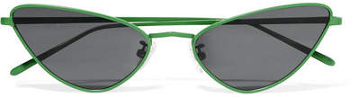 Cat Eye Poppy Lissiman - Chi Chi Cat-eye Metal Sunglasses - Green