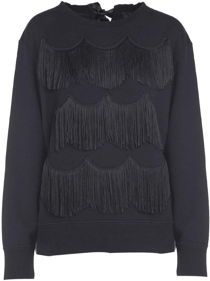 Marc Jacobs Ribbon-tie Fringed Cotton-jersey Sweatshirt