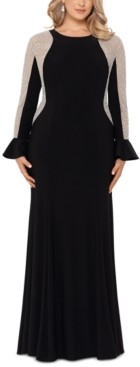 Xscape Evenings Plus Size Beaded Ruffle-Cuff Gown