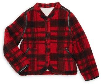 Blank NYC Girl's Fleece Buffalo Plaid Jacket
