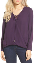 WAYF Wrap Front Long Sleeve Blouse