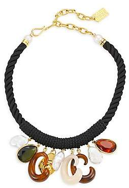 Lizzie Fortunato Women's Piazza 18K Goldplated 14mm Baroque Pearl & Glass Stone Corded Bib Necklace