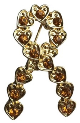 Eyewearstraps NEW Design Gold Crystal Gold Heart Ribbon Brooch Pin Childhood Cancer Awareness