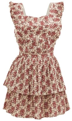 Sir. Flore Floral-print Tie-back Cotton-blend Dress - Red Print