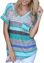 Amstt Women's Striped Pocket V-neck Casual Short Sleeve T-shirt Blouse Tees Tops (XXL, )