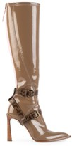 Fendi Harness Buckle Patent Neoprene Tall Boots