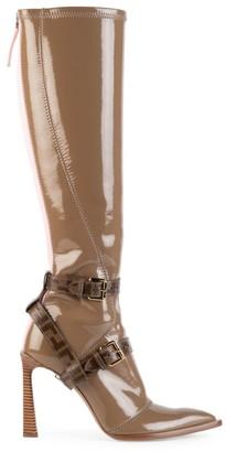 Fendi Harness Buckle Patent Neoprene Tall Boots
