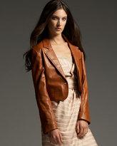 Cropped Leather Blazer