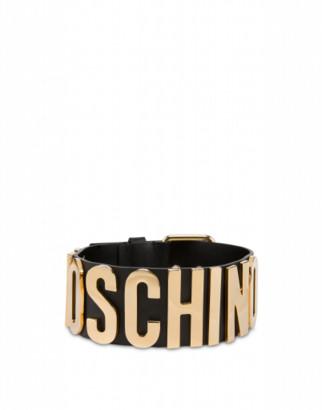 Moschino Calfskin Choker With Lettering Logo