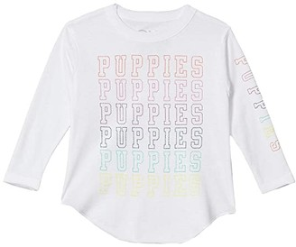 Chaser Dog Charity Vintage Jersey Long Sleeve Shirttail Tee (Toddler/Little Kids) (White) Girl's Clothing