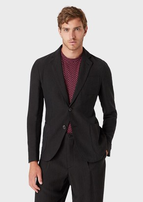Giorgio Armani Regular Fit, Crinkled Cupro Jacket From The Upton Line