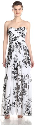 JS Boutique Women's Printed Chiffon Rouched Gown