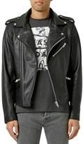 Topman Men's Black Leather Biker Jacket
