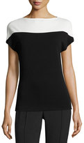 Narciso Rodriguez Crepe Jersey Cap-Sleeve Top, Black/White