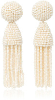 Oscar de la Renta Short Champagne Tassel Earrings