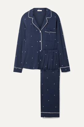 Eberjey Sleep Chic Polka-dot Stretch-modal Pajama Set - Navy
