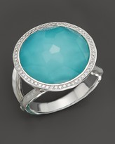 Ippolita Sterling Silver Stella Lollipop Ring in Turquoise Doublet with Diamonds