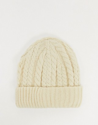 Urban Code Urbancode cable knit beanie hat in cream