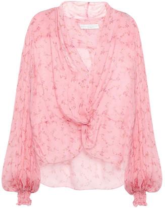 Caroline Constas Twist-front Draped Floral-print Silk-voile Blouse