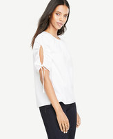 Ann Taylor Ruched Sleeve Poplin Top