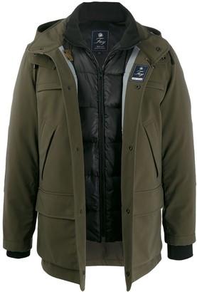 Fay layered hooded jacket