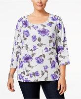 Karen Scott Plus Size Printed Top, Only at Macy's