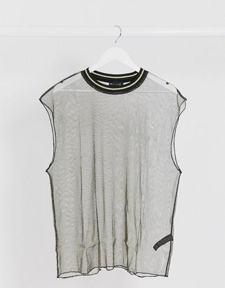 ASOS DESIGN oversized sleeveless t-shirt in sheer gold mesh