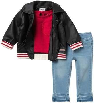 Hudson Jeans Biker Jacket, Top, & Jeans Set (Baby Girls)