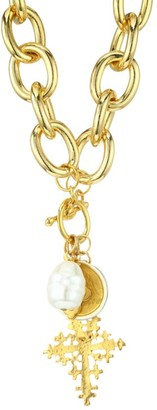 Kenneth Jay Lane 22K Yellow Goldplated & Faux Pearl Heart Pendant Necklace