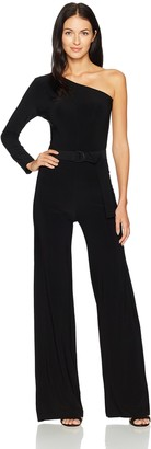 Norma Kamali Women's One Shoulder Jumpsuit with Mid Belt