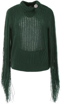 Calvin Klein Fringe Sleeves Ribbed Sweater