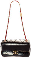 Chanel Multicolor Quilted Striped Jersey & Lambskin Leather Arch Small Single Flap Bag