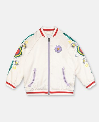 Stella McCartney satin bomber jacket with flower embroidery