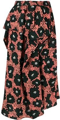 Christian Wijnants Daisy Print Draped Skirt