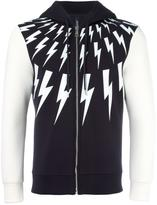 Neil Barrett lightning bolt zip hoodie - men - Cotton/Polyurethane/Spandex/Elastane/Viscose - S
