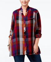 Melissa McCarthy Trendy Plus Size Plaid Tunic Shirt
