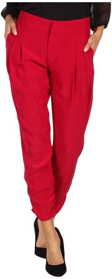 Parker Rouched Bottom Pant (Sangria) - Apparel