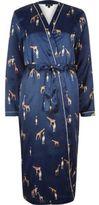 River Island Womens Blue giraffe print satin dressing gown