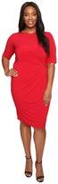 London Times Plus Size Matte Jersey Sheath Dress w/ Ruching