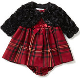 Bonnie Jean Bonnie Baby Baby Girls Newborn-24 Months Solid Faux-Fur Jacket and Plaid Dress Set