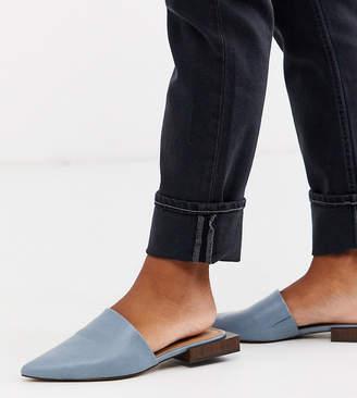 Asos Design DESIGN Wide Fit Magic flat mules in blue