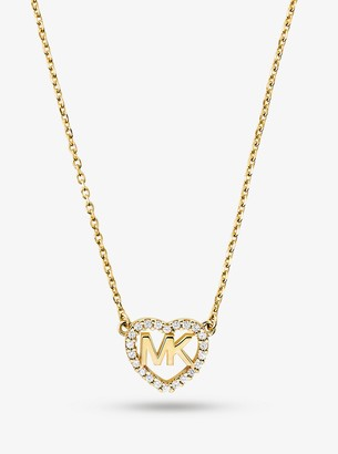 Michael Kors Precious Metal-Plated Sterling Silver Logo Heart Necklace