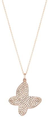 Nina Gilin 14K Rose Gold & Diamond Pave Butterfly Pendant Necklace