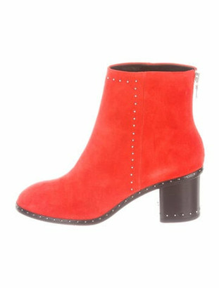 Rag & Bone Suede Studded Accents Boots Red