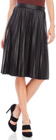Lucy Paris Pleated Faux Leather Midi Skirt